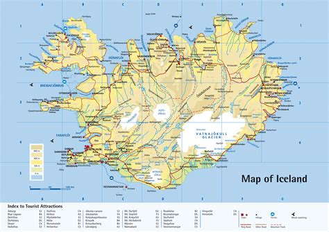 tourist map of attractions printable iceland tourist map iceland travel map iceland