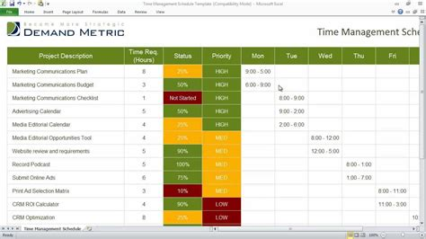 template for time management schedule time management schedule template