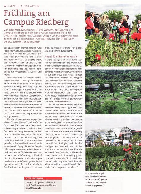 Goethe Uni Frankfurt Sommersemester 2016 Bewerbung Goethe Universit 228 T Arzneipflanzengarten Riedberg