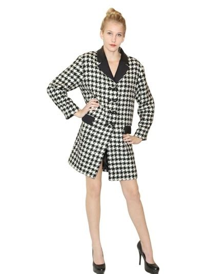 black and white coat pattern moschino cheap chic houndstooth pattern wool coat