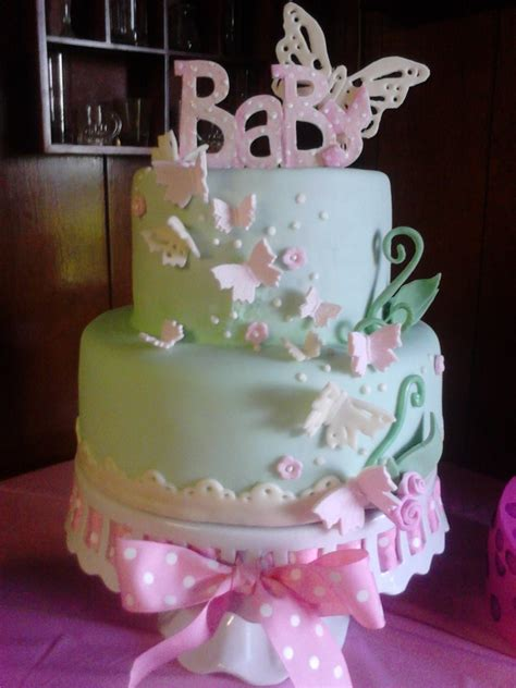 Baby Shower Cakes With Butterflies by Fondant Baby Shower Butterfly Cake Cakecentral