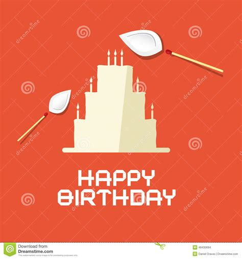 Flat Happy happy birthday flat design paper cake stock vector image 48430694