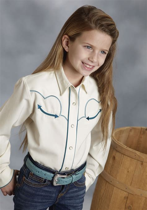 western style hanging ls roper 174 girls cream embroidered pearl snap ls old west shirt