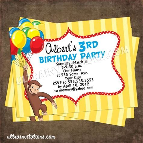 curious george birthday invitation template 1000 images about birthday ideas on