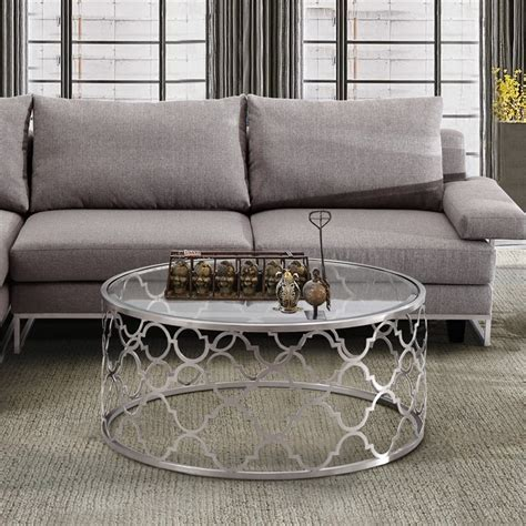 silver metal and glass coffee table armen living florence glass top coffee table in