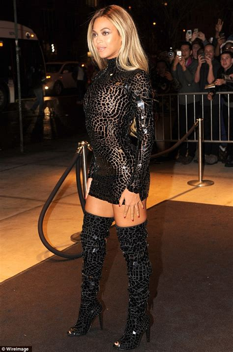 sensory overload beyonce dazzles in risque see through dress and thigh skimming boots at party