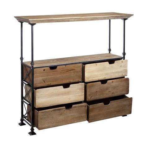 cassetti legno consolle industrial con cassetti legno mobili stile