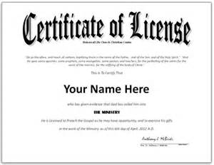 License Certificate Template by Pastor License Certificate Template Search