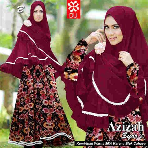 Baju Muslim Dress Gamis Khimar Syari Azizah Syarii baju muslim syari azizah a046 model gamis jilbab penguin