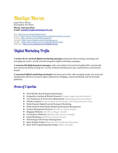 Resume Sle For Digital Marketing Sle Resume For Digital Marketing Manager 28 Images Digital Marketing Manager Sales Business