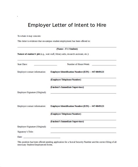 letter of intent to hire template 43 letter of intent sles sle templates