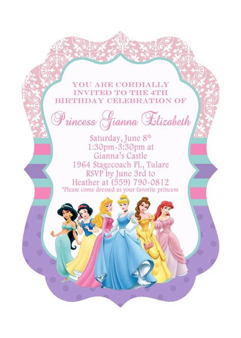 printable invitation to disney world disney princesses birthday invitations disney princess
