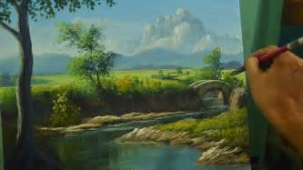Landscape Pictures For Acrylic Painting Acrylic Landscape Painting Lesson River To The Bridge In