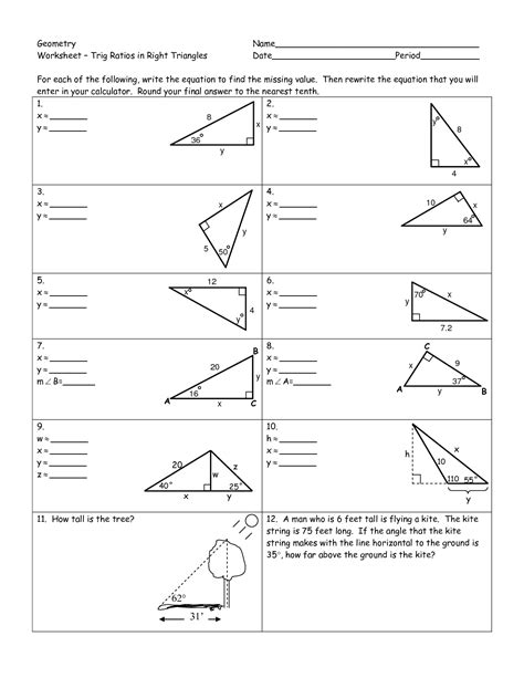 Trigonometric Ratios Worksheet Answers by 19 Best Images Of Right Triangle Trig Worksheets Right
