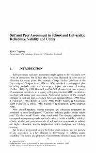 Self Assessment Essay Sle by Self And Peer Assessment In School And Reliability Validity And Utility Springer