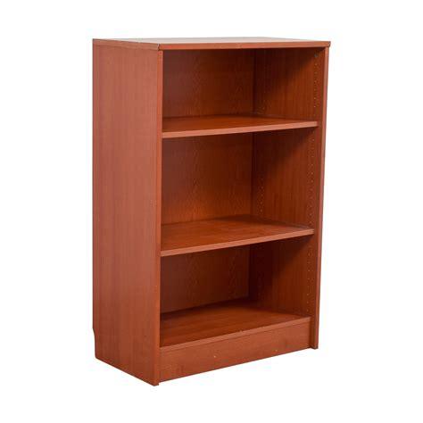 74 Off Three Shelf Wood Bookcase Storage Second Bookshelves