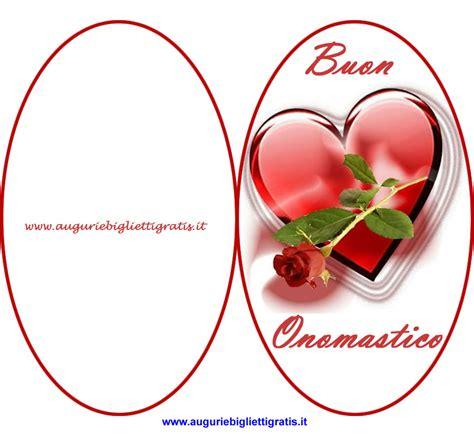 fiori onomastico biglietto ovale di buon onomastico con cuore e fiore rosso