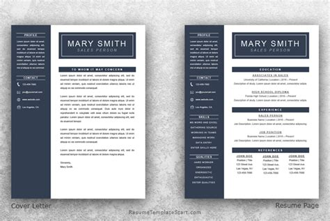 one page resume template word resume template start
