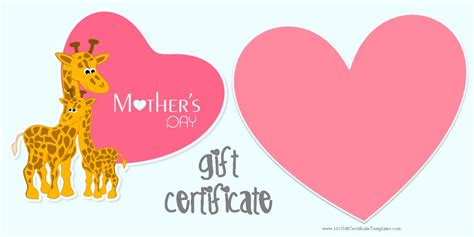free printable gift certificates for mother s day mother s day gift certificate templates