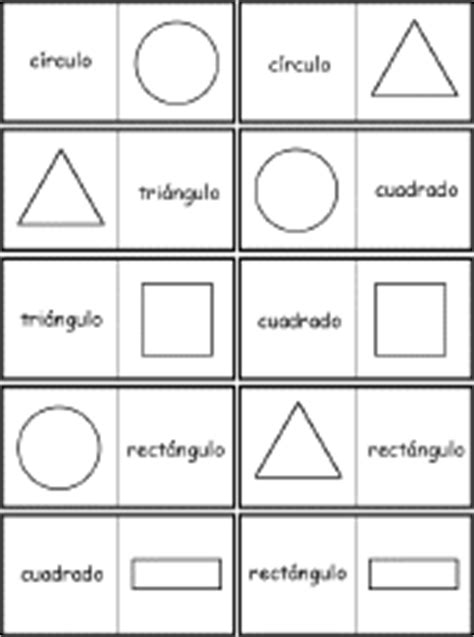 printable shapes in spanish spanish shape dominoes a printable game