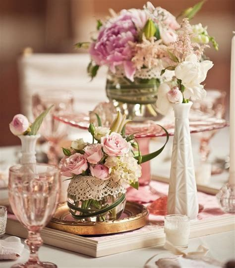 Glass Flower Vases Centerpieces by Vintage Wedding Wedding Ideas Pale Pink Cake Stands Wedding Reception Milk Glasses Wedding