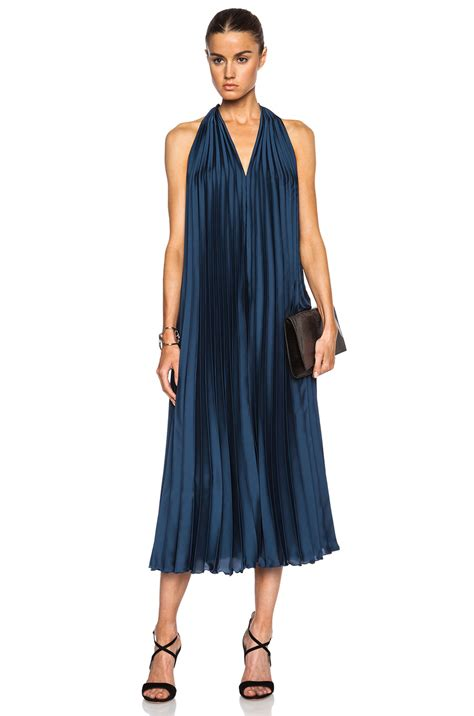 Dress In lyst tome satin pleated halter dress in blue