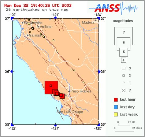 usgs earthquake map california december 22 2003 california earthquake