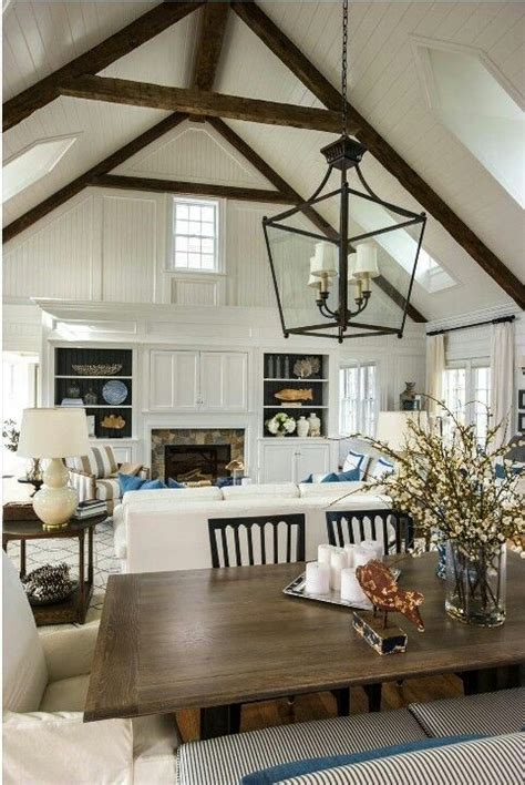 modern farmhouse living room wood beams farm house