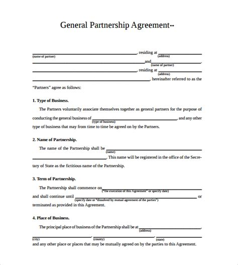 partnership agreement template free business partnership agreement 10 documents in