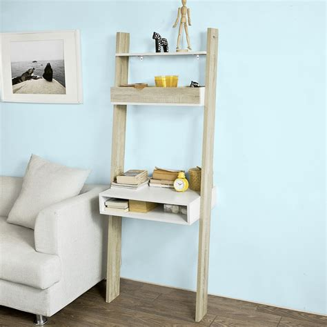 Ladder Shelving Unit With Desk by Sobuy 174 Wall Storage Shelving Unit With Drawer Desk