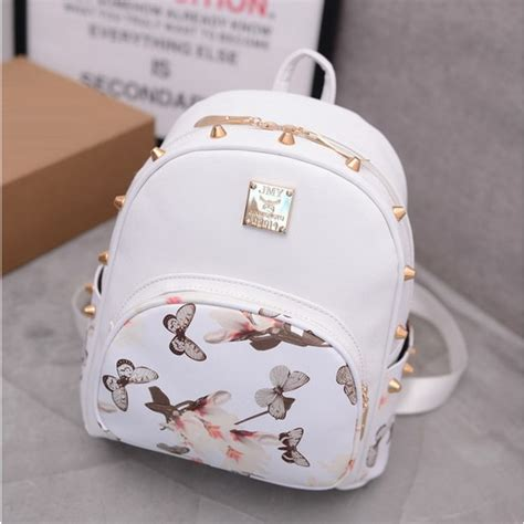 butterfly printing small korean backpack leather backpack white pretty style school bag