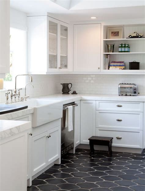 White Tile Kitchen Floor 3 Floors Types And 26 Ideas To Pull Them Digsdigs