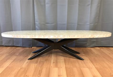 capiz shell table l capiz shell surfboard coffee table past perfect