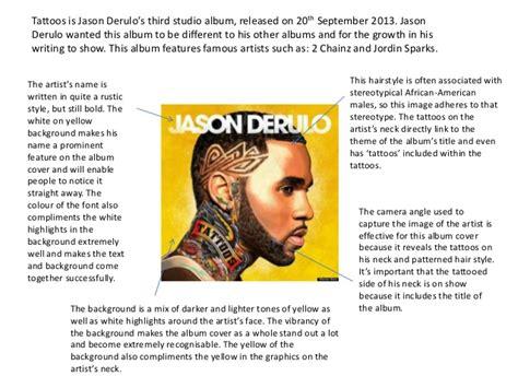 Cd Jason Derulo Tattoos album cover analysis