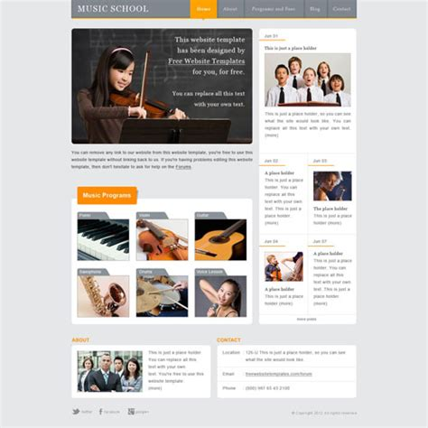 templates for music website free download music school website template free website templates