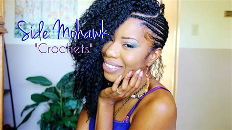 new and different side mohawks with weave side mohawk part 2 crocheting cutting hair youtube