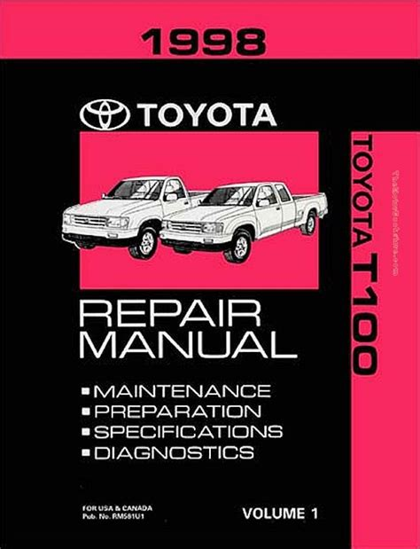 small engine service manuals 1998 toyota t100 transmission control 1998 toyota t100 oem repair manual rm581u