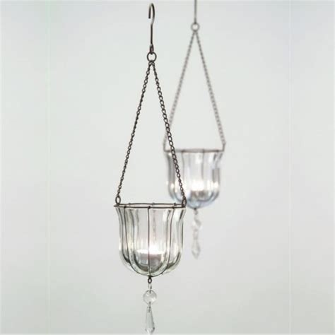Hanging Tealight Holders hanging teardrop votives glass tealight holders