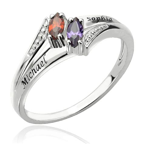 two name birthstones promise ring