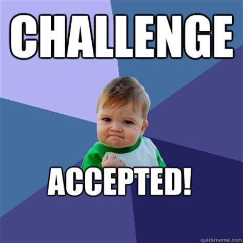 Chalenge Accepted Meme - challenge accepted success kid quickmeme