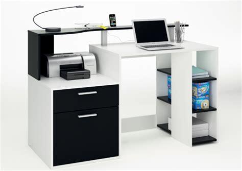 bureaux meubles bureau 1 porte 1 tiroir oracle blanc noir