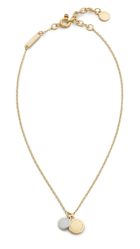Marc Jacob Flower Necklace 2 marc by marc logo disc pendant necklace oro multi lyst