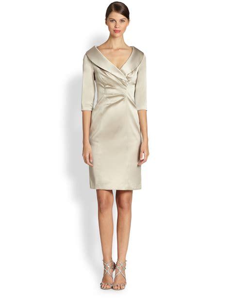 Dress Stretch Wedges Dress lyst unger stretch satin shawl collar dress in