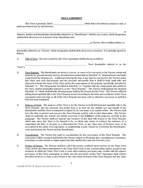 Free Printable Trust Agreement Short Sale Sle Pdf Land Trust Agreement Template