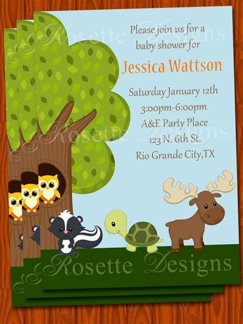 theme line forest friend baby shower invitation forest friends theme woodland