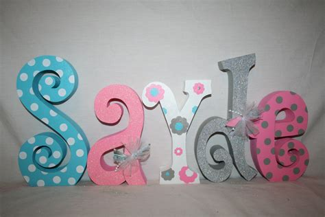 Letter Decorations For Nursery Baby Name Letters Nursery Decor Nursery Letters 5 Letter