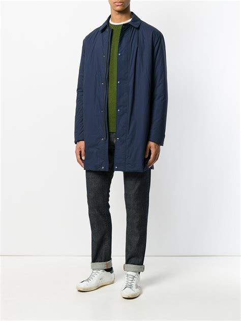 Button Parka lyst sempach classic button parka in blue for