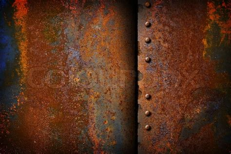 rusty metal plate with a seam stock photo colourbox