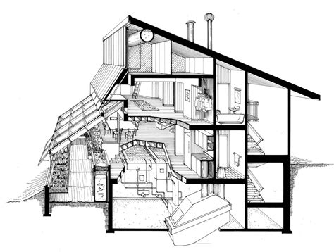 section perspective drawing the ark section perspective of kitchen greenhouse and