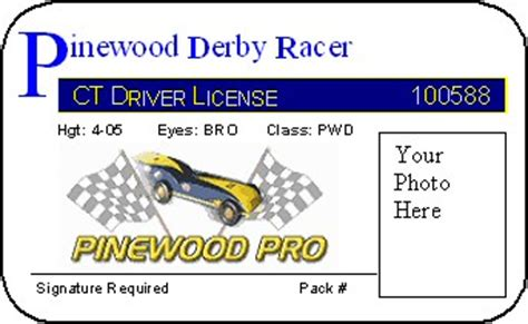 pinewood derby cars free derby racer license
